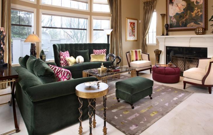 tufted high back velvet sofa
