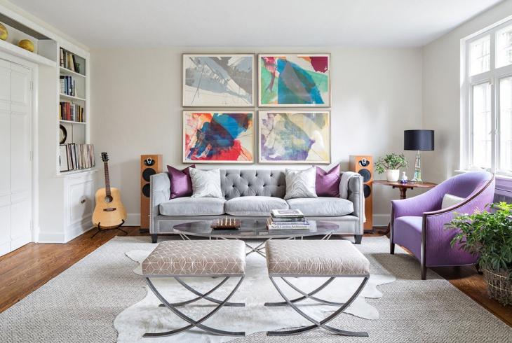 cool grey tufted sofa design