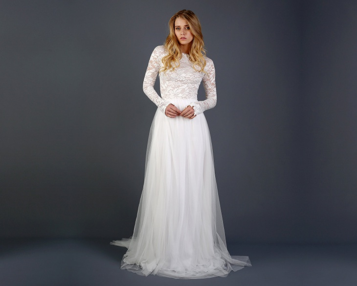 long sleeve lace wedding tulle dress