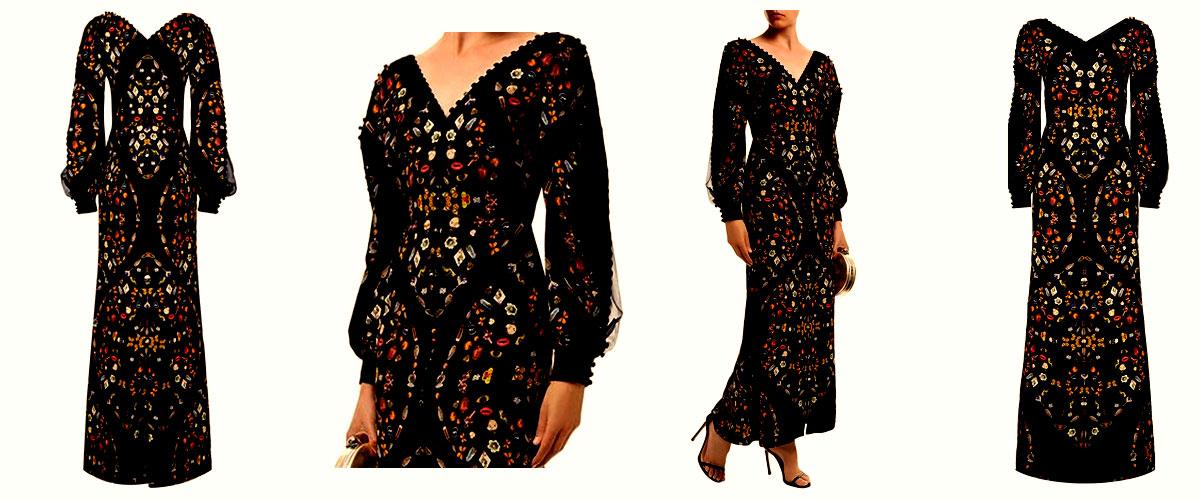 alexander mcqueen obsession print split sleeve gown