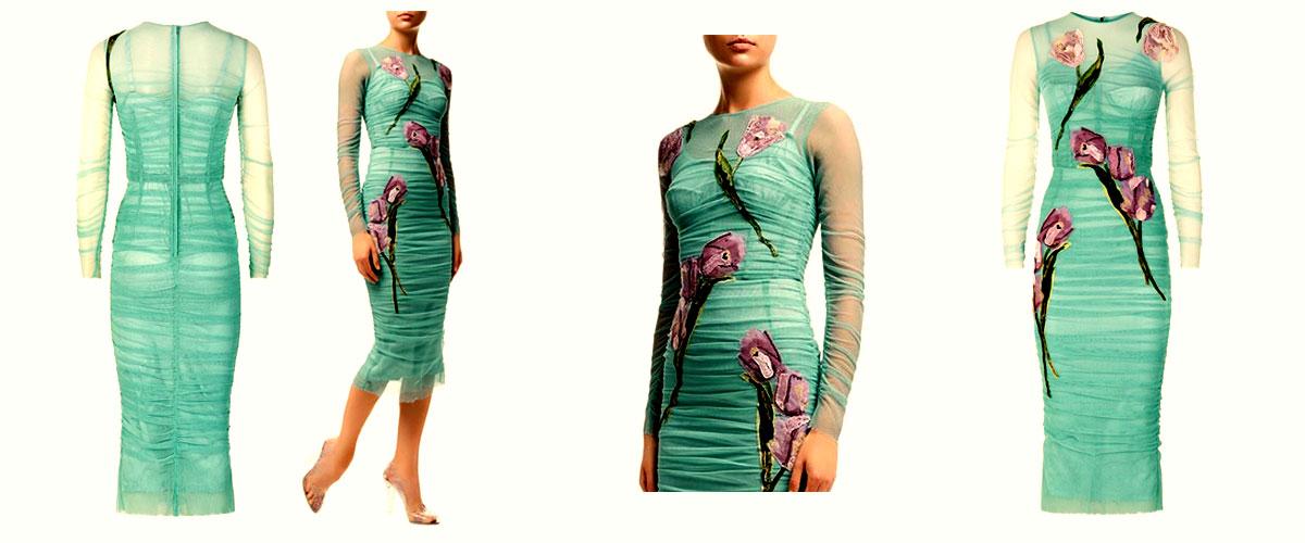 dolce gabbana ruched appliqu dress
