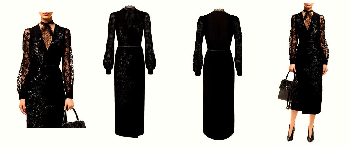 elie saab embellished lace midi dress