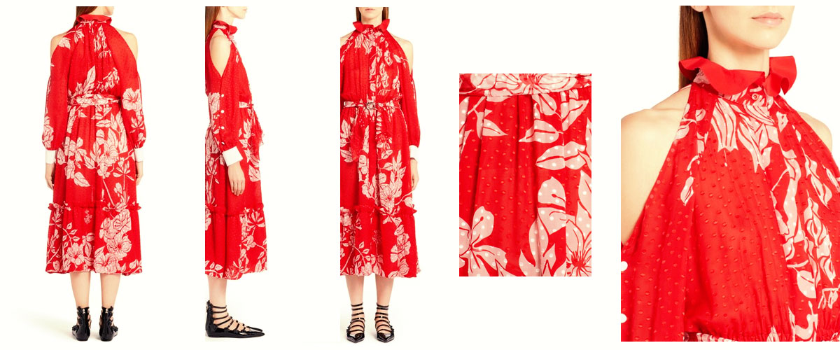 fendi print silk blend fil coupcold shoulder dress