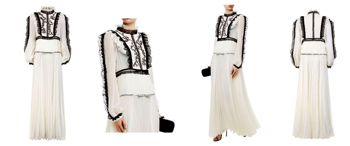 giambattista valli embellished lace trim gown
