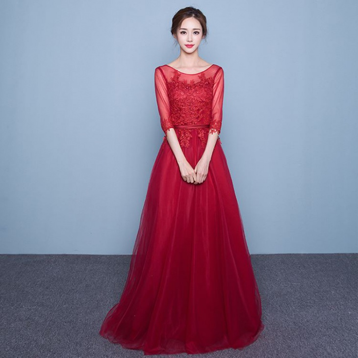 sleeve red lace wedding dress
