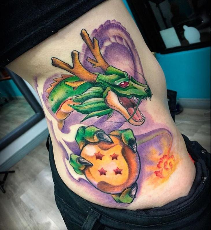 dragon ball tattoo on ribs