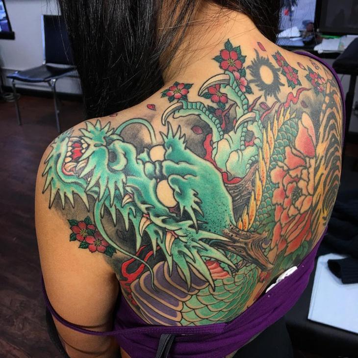 dragon back tattoo fo women