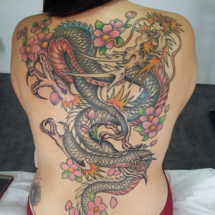 traditional dragon tattoo on back