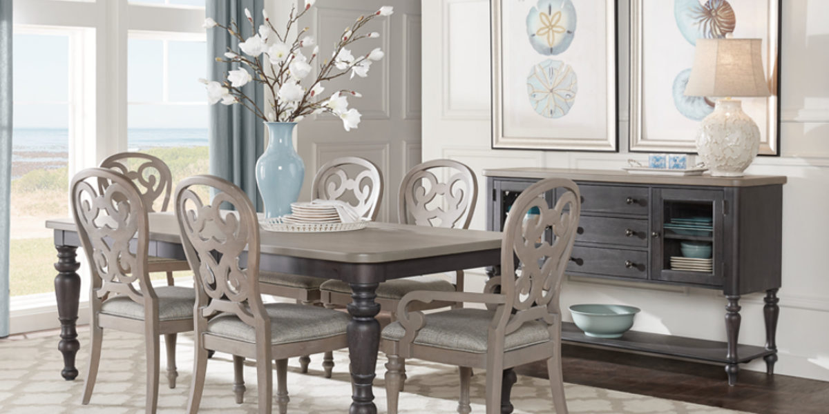 charcoal coloured dining table