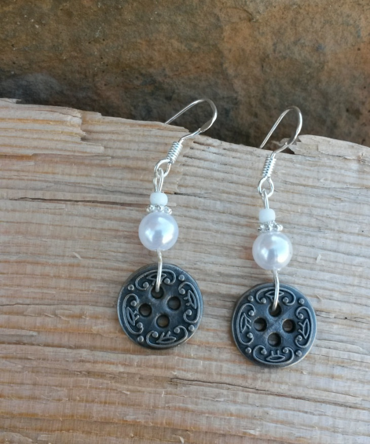 White Pearl Button Earrings