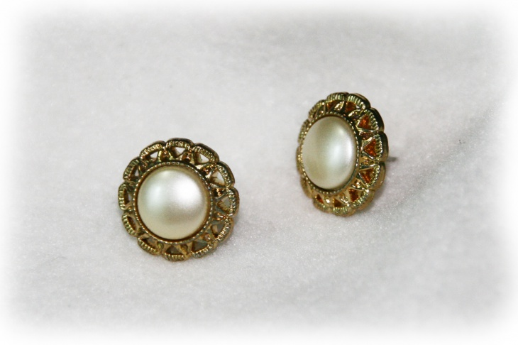 Gold Pearl Button Earrings