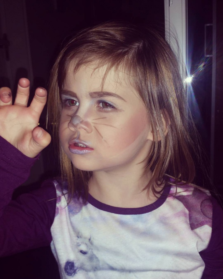 silver cat makeup for kids