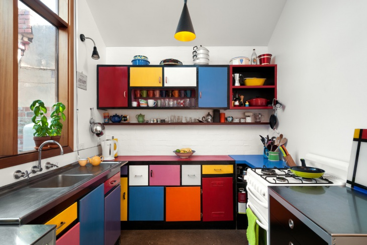 colorful small kitchen cabinet