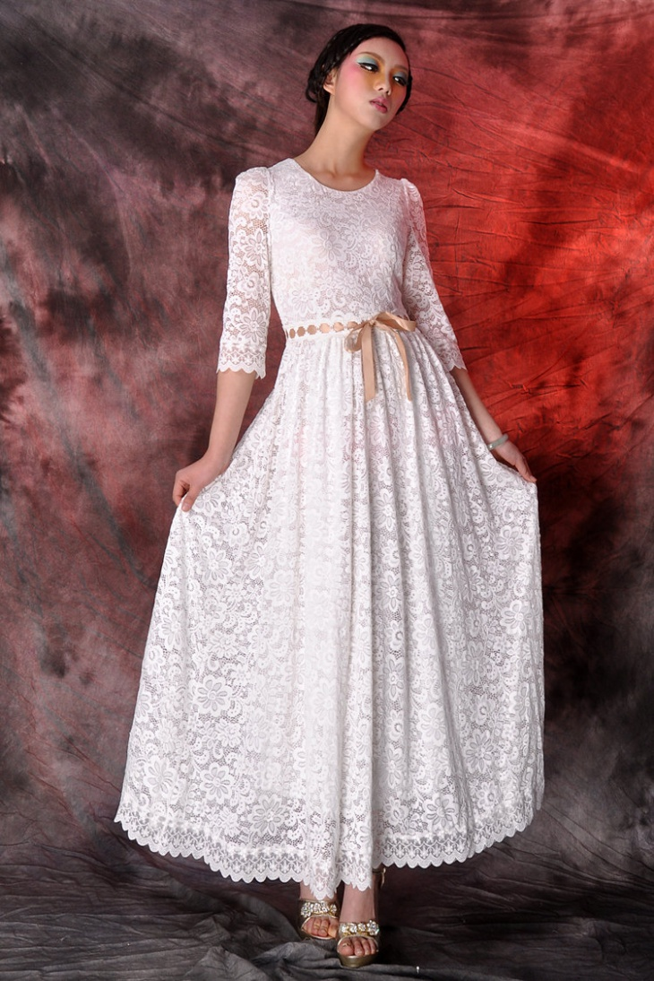 21 white maxi dress designs ideas design trends for Lace maxi wedding dress
