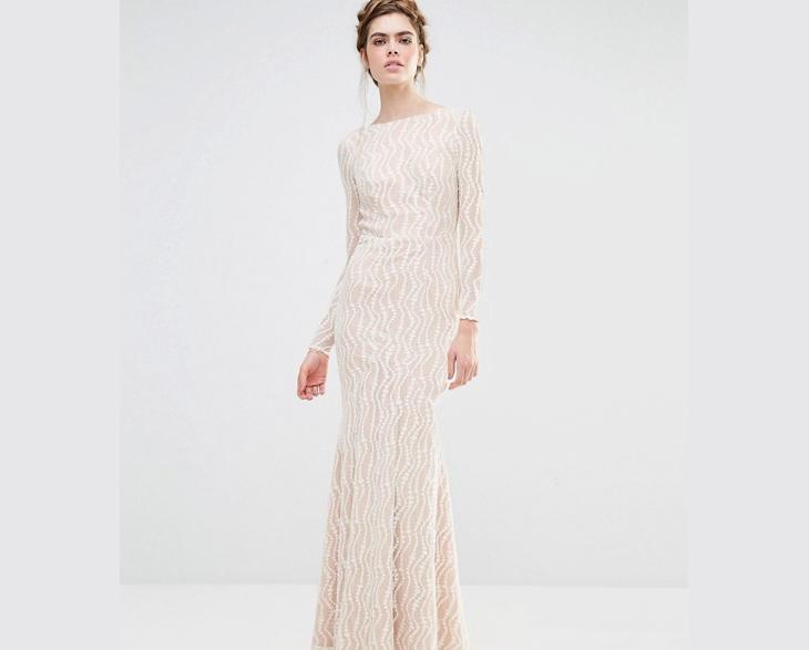 white long sleeve maxi lace dress