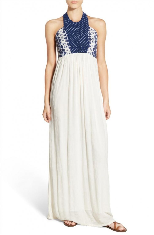 white halter neck maxi dress