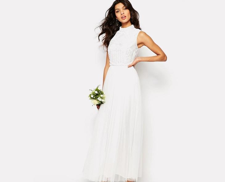 long white pleated maxi dress