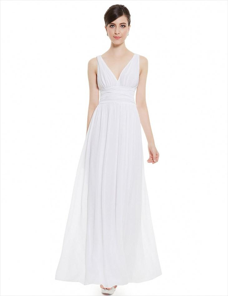 v neck white formal maxi dress