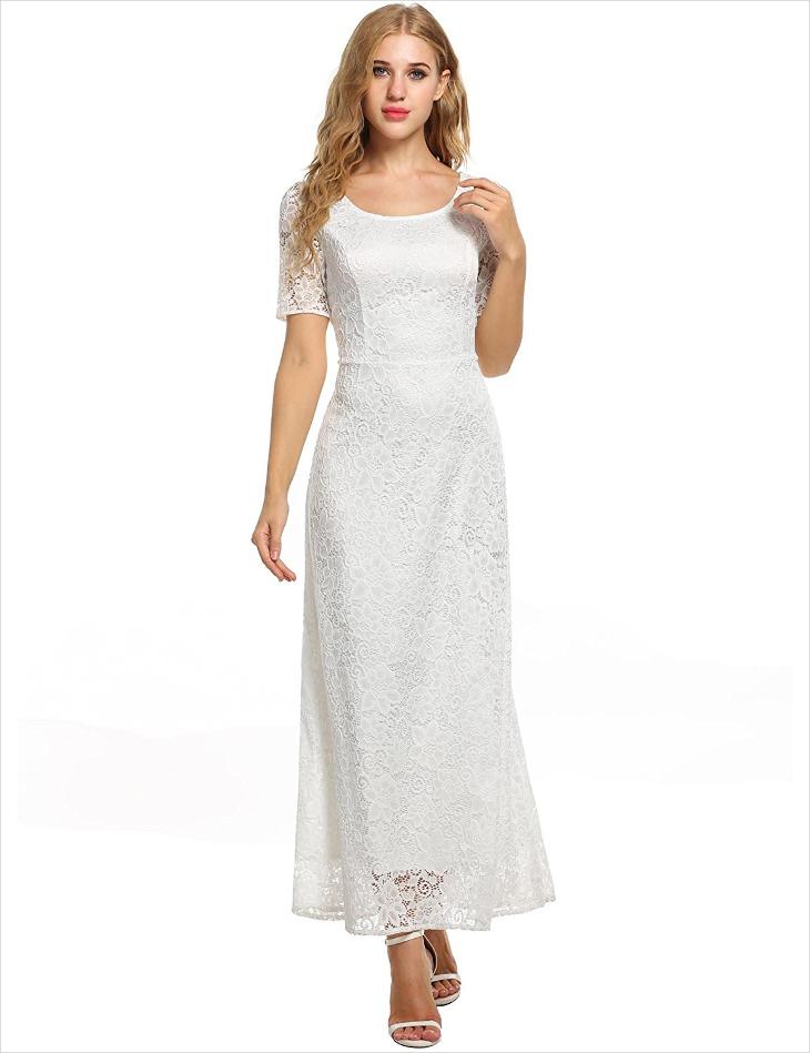 chiffon white maxi wedding dress
