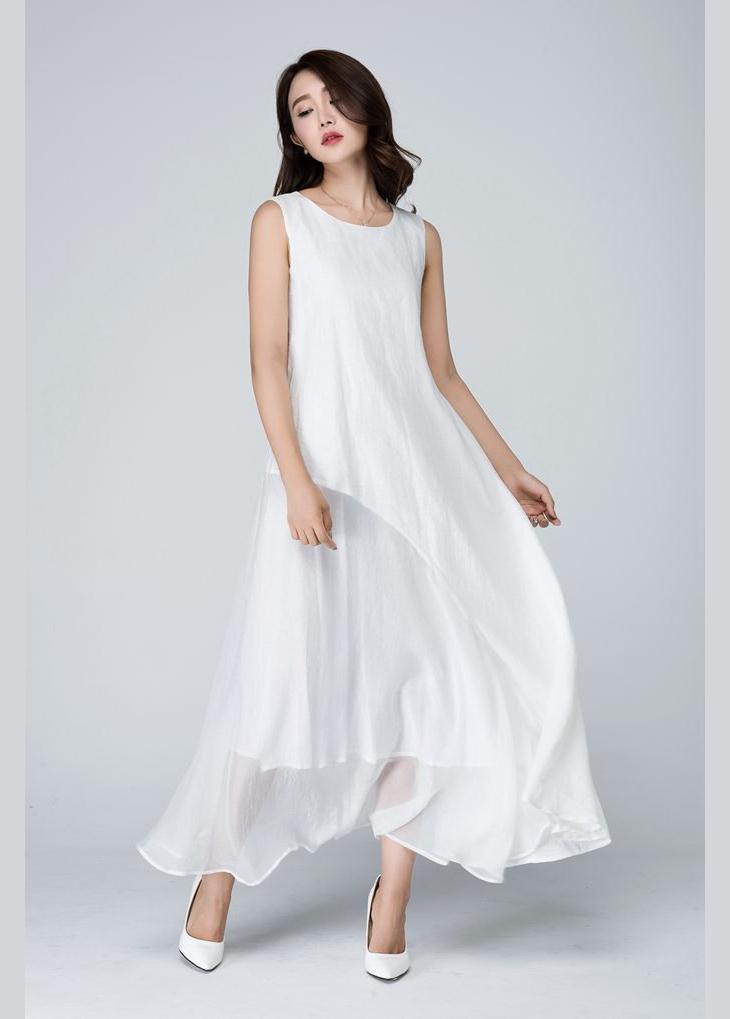 long white layered maxi dress