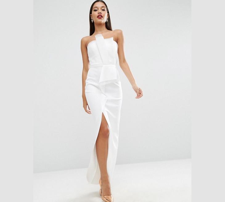 white maxi bodycon slit dress