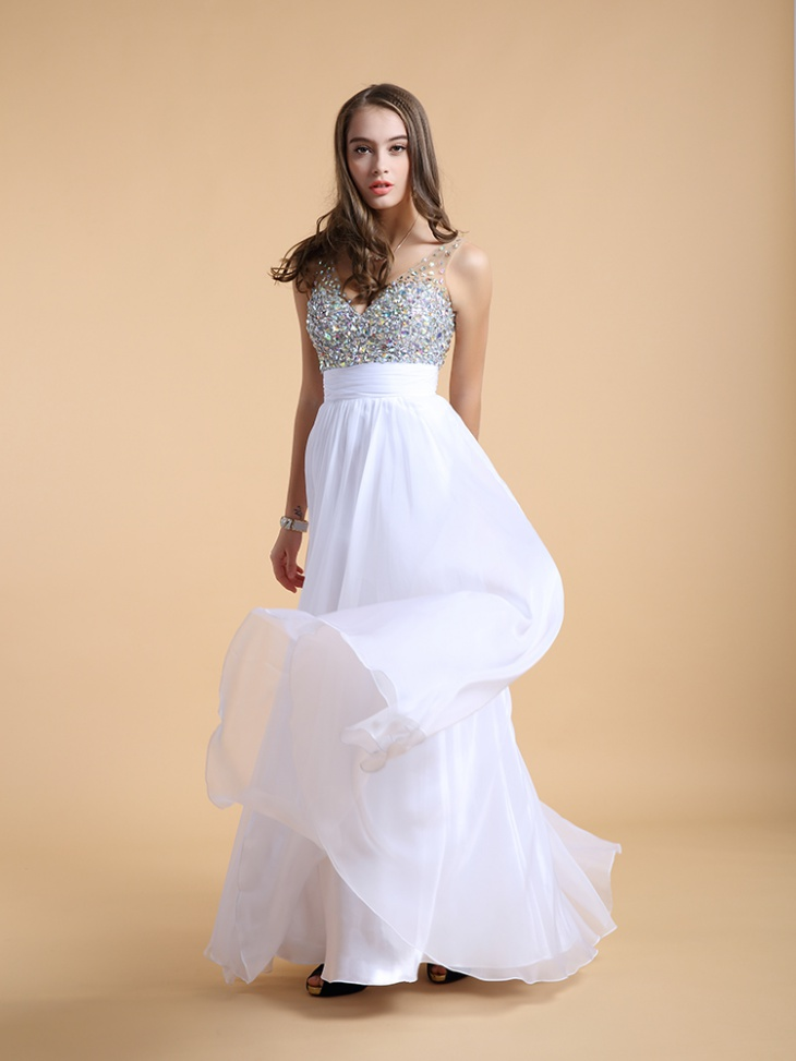 sequin white maxi prom dress