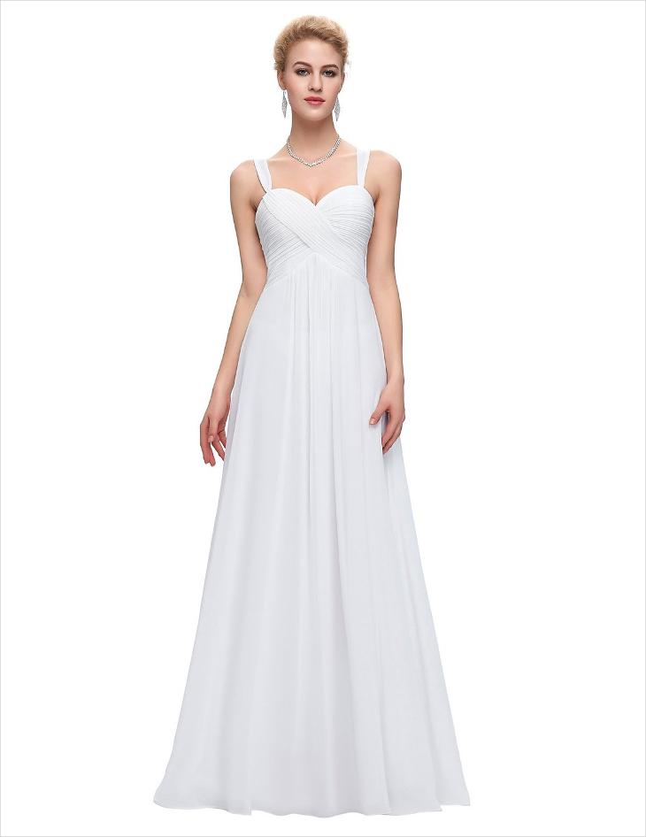 white maxi evening prom dress