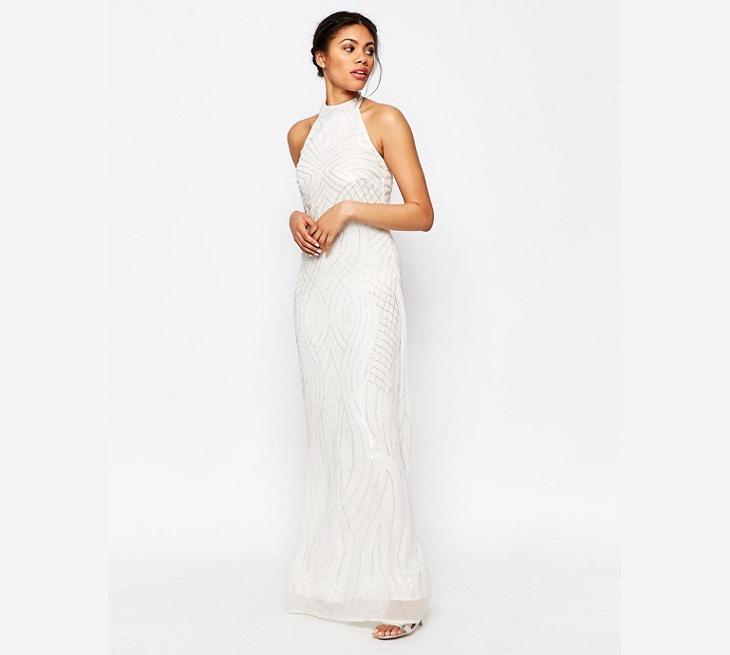 white beaded maxi neck dress