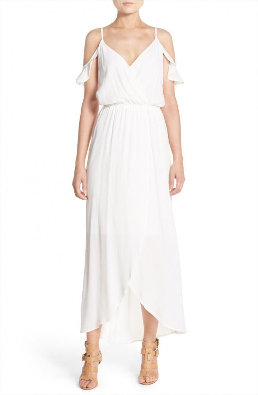 long white maxi wrap dress