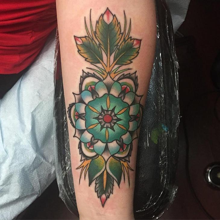Traditional Mandala Flower Tattoo