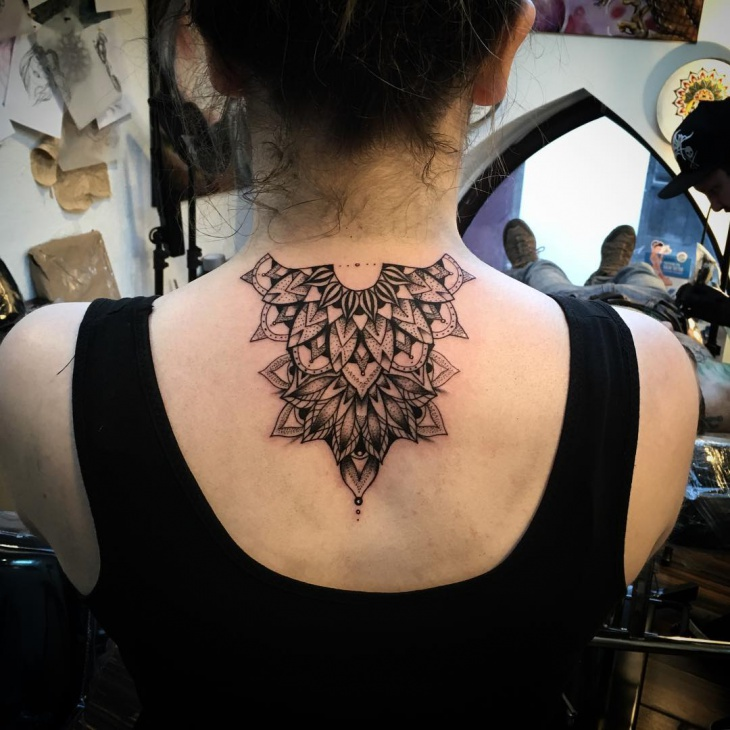 Mandala Neck Tattoo Bellow Neck
