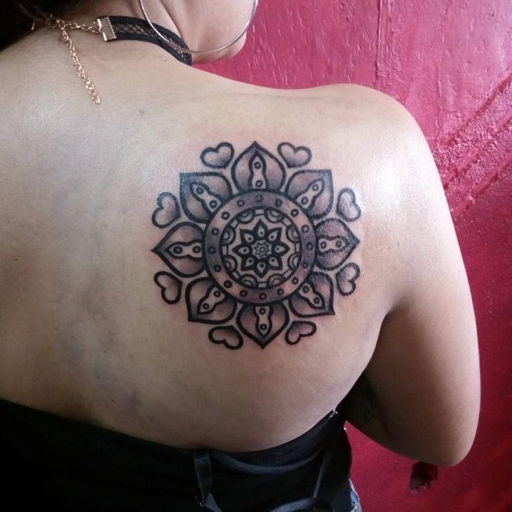 mandala back shoulder tattoo