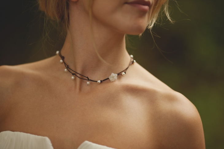 leather pearl choker necklace1