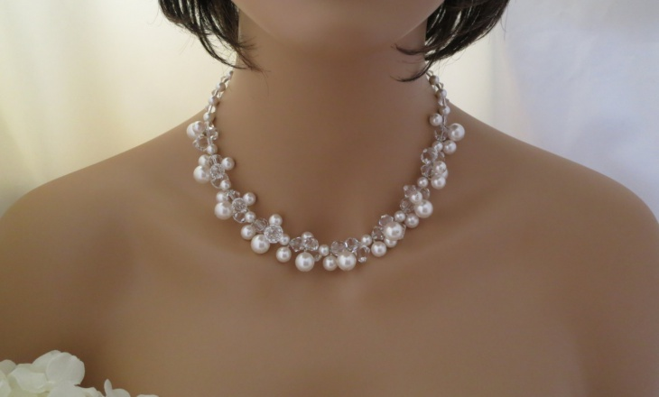 pearl cluster bridal necklace