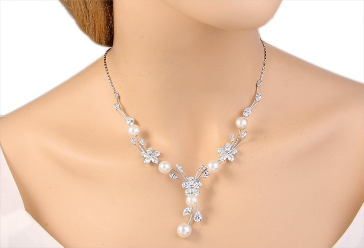flower bridal pearl necklace