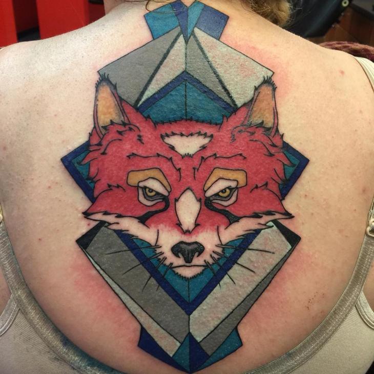 geometric wolf animal tattoo