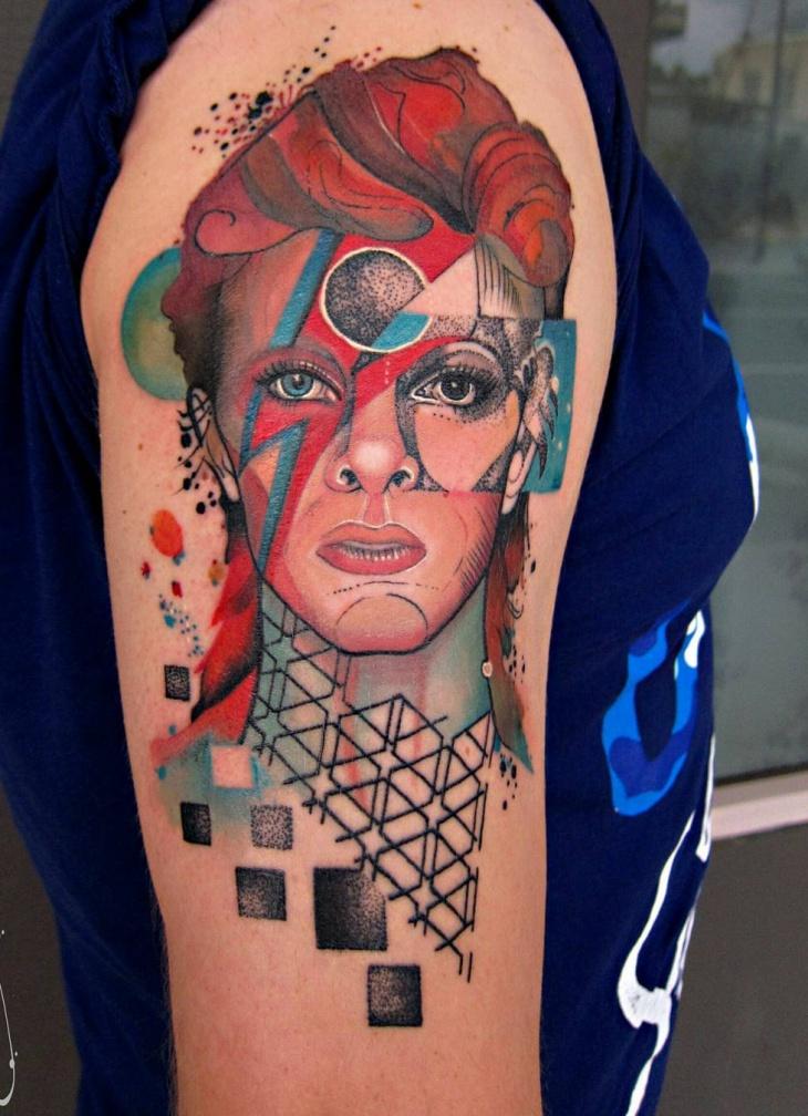 geometric sleeve tattoo for women