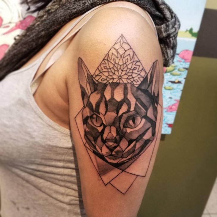 geometric sleeve cat tattoo