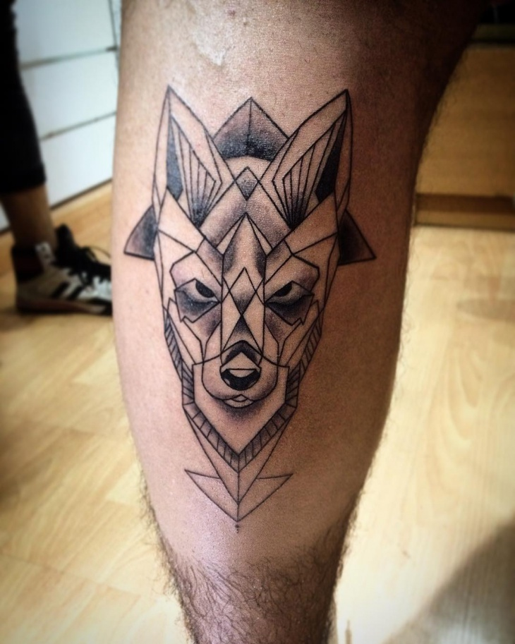 Geometric Leg Tattoo for Men