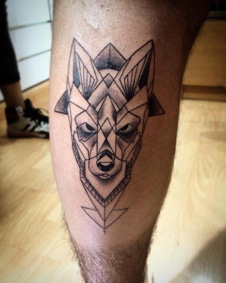 geometric leg tattoo for men