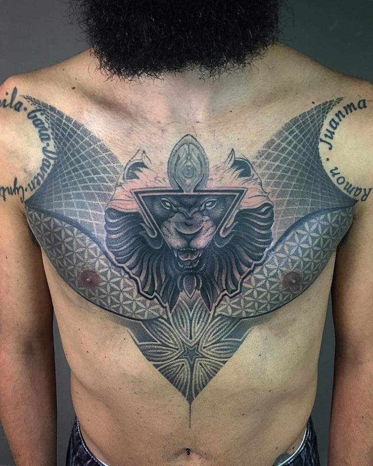 geometric chest tattoo for men