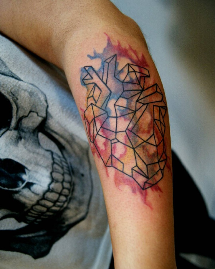 Watercolor Geometric Tattoo on Arm