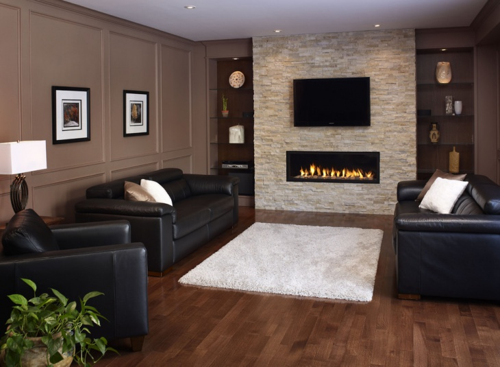Simple Contemporary Stone Fireplace