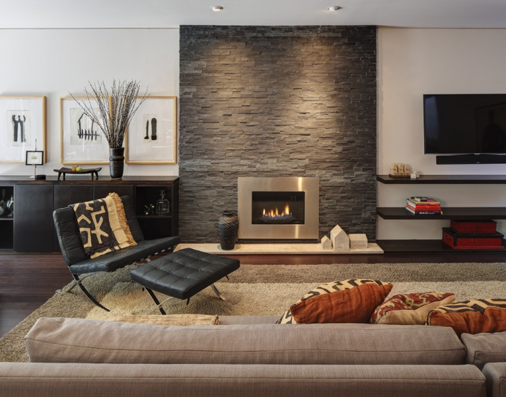 contemporary stacked stone fireplace