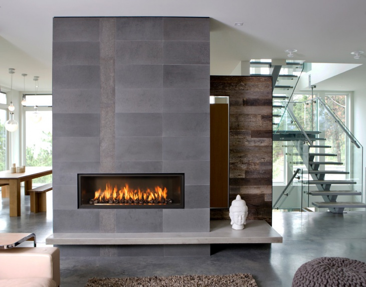 modern grey stone fireplace