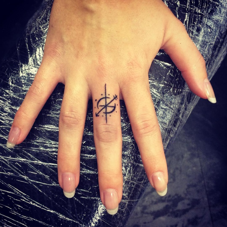 Small Compass Tattoo on Finger