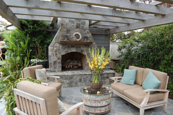 cultured stone patio fireplace