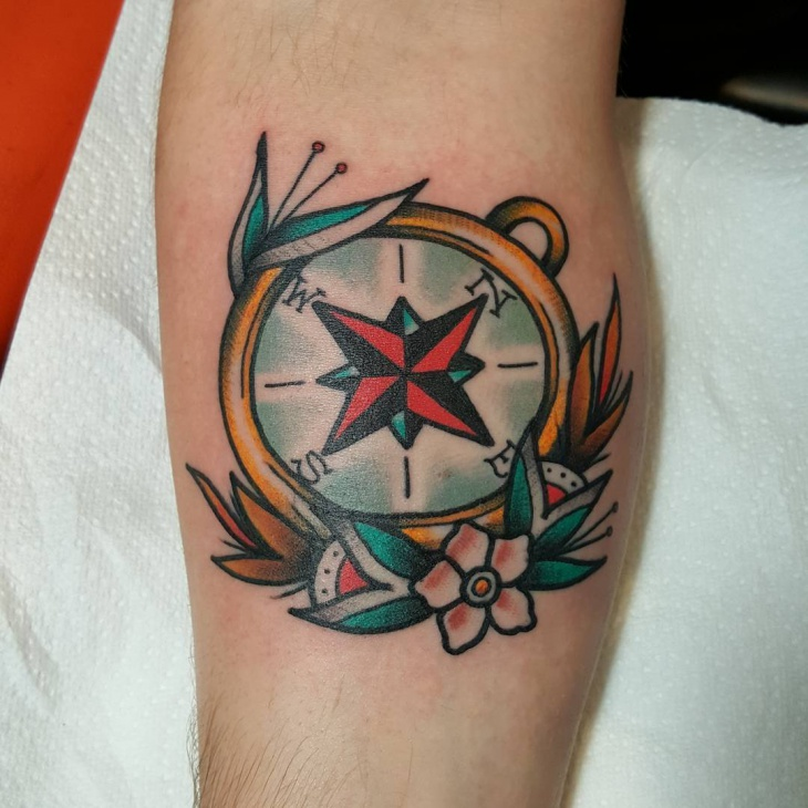 Traditional Compass Tattoo on Sleeve
