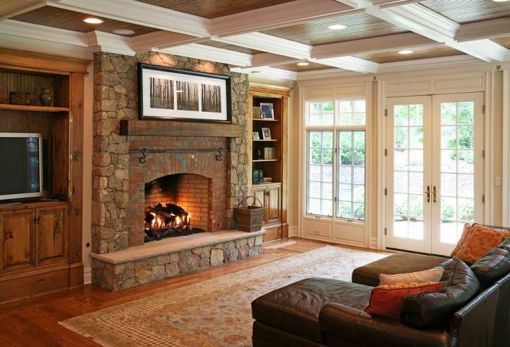 traditional stone and brick fireplace