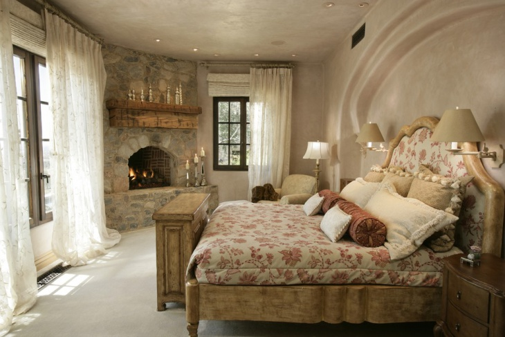 rustic bedroom stone fireplace